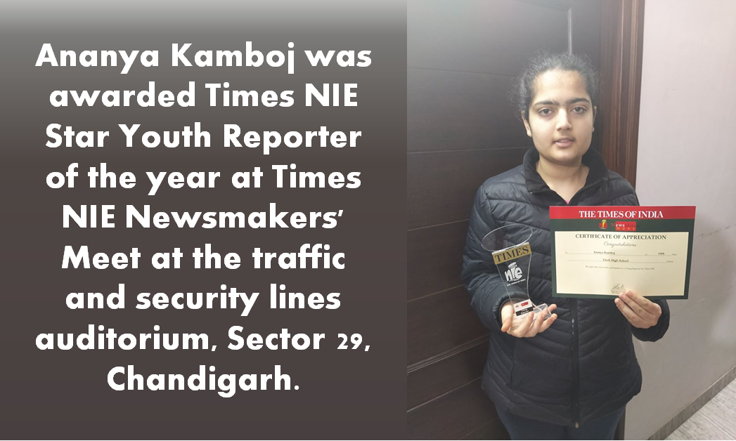 Ananya Kamboj awarded Times NIE Star Youth Reporter