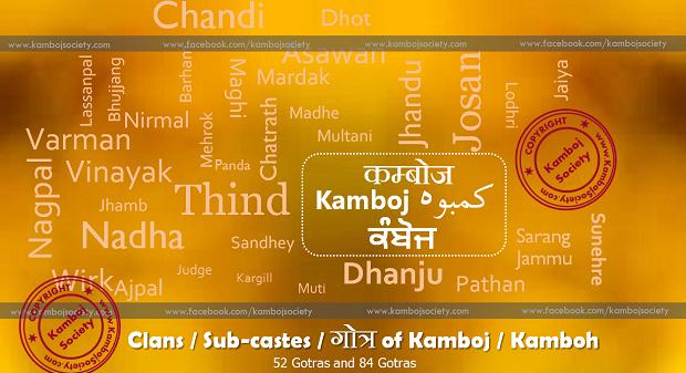 Clans / Sub-castes of Kamboj / Kamboh