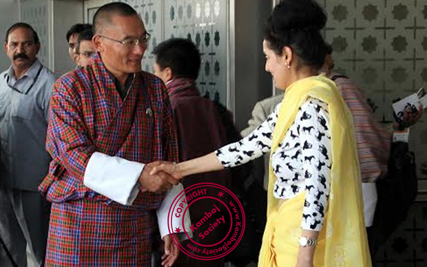 Ruchira Kamboj welcoming Lyonchhen Tshering Tobgay, PM of Bhutan