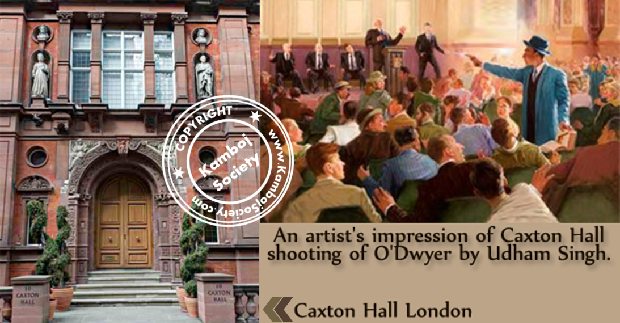 An artist's impression of Caxton Hall shooting of O'Dwyer by Udham Singh.