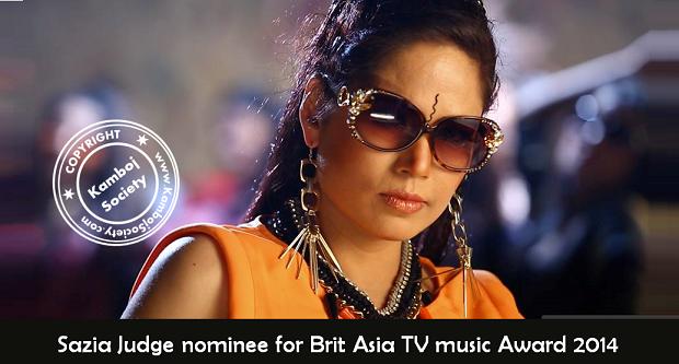 Sazia Judge nominee forBrit AsiaTV music Award 2014