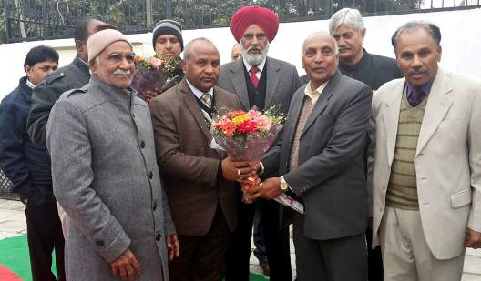 Sh. Karan Dev Kamboj, Minister Haryana Government welcomed by Sh. Nanak Chand Kamboj, President of All India Kamboj Mahasabha with Sh. Daulat Ram Kamboj at Shaheed Udham Singh Memorial Bhawan Society, Chandigarh