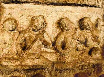 Other panel in Angkor Wat temple (Cambodia) showing Ksie deiv musical instrument