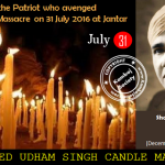Shaheed Udham Singh Martyrdom Day: Candle March at Jantar Mantar on 31 July