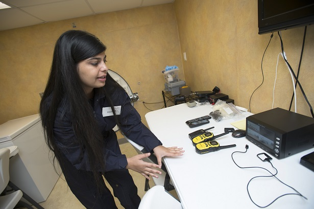 Poonam Josan shows off the security system, the outside video system and radio  transmitters