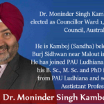 Dr. Moninder Singh Kamboj elected as Councillor of Blacktown city, Sydney, Australia