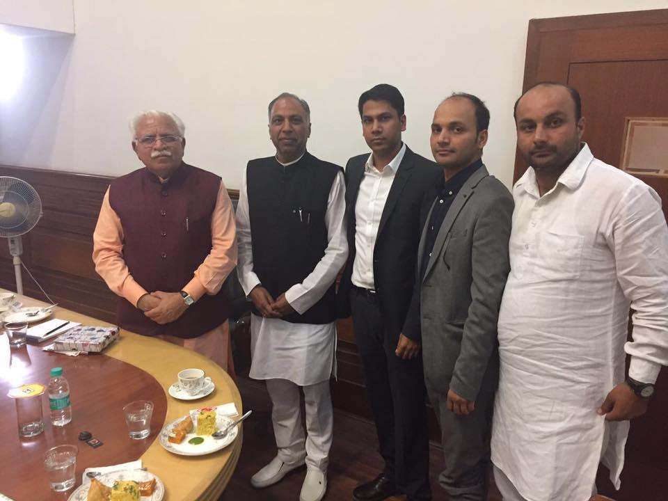 Rahul Kamboj and Kapil Kamboj with Manohar Lal Khattar