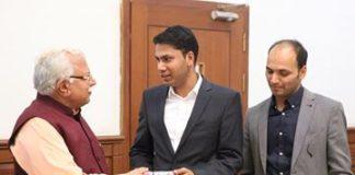 Mr Kapil Kamboj MP City Frankfurt Kelsterbach in Germany. and MR Rahul Kamboj magistrate Member In Assembly Germany had a meeting with Honourable CM Haryana Sri Manohar Lal Khattar in Chandigarh