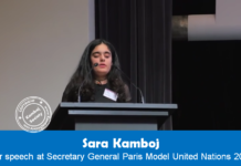 Speech of Sara Kamboj, Secretary General Paris Model United Nations 2016