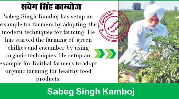 Sabeg Singh Kamboj - He adopted organic and modern farming