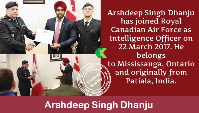 Arshdeep Singh Dhanju has joined Royal Canadian Air Force